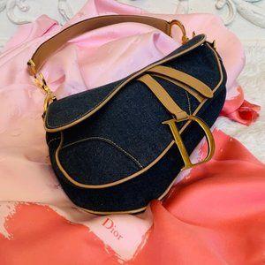VINTAGE Christian Dior Denim Double Saddle Bag